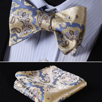 Blue, Brown, Floral 100% Silk Butterfly Tie Self Tie Bow Tie Pocket Square Bow t