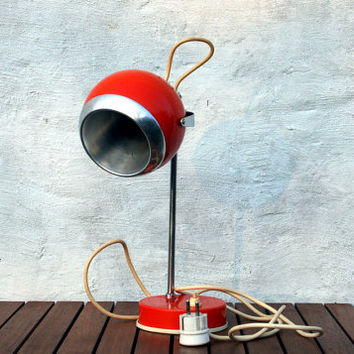 Mid century eyeball lamp / atomic desk lamp / 70's / orange