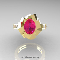 New Modern 14K Yellow Gold 1.0 Ct Oval Pink Sapphire Accent White Diamond Engagement Ring AR136-14KYGDPS