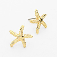 Metal Gold Stud Starfish Earrings