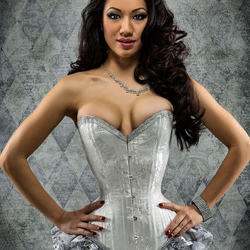 Wedding Corset- Victorian Overbust- Lingerie- White and Silver- wedding bodice