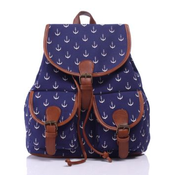 Navy Blue Anchor Canvas Backpack Casual Daypack