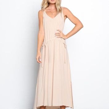 Peach Fuzz Drawstring Maxi Dress