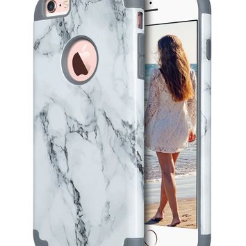 iPhone 6S Plus Case,iPhone 6 Plus Case Marble, ULAK Slim Dual Layer Soft Silicone & Hard Back Cover Bumper Protective Shock-Absorption & Skid-proof Anti-Scratch Hybrid Case-marble pattern