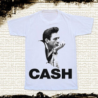 S,M,L,XL - JOHNNY CASH TShirts Country Rock And Roll Shirts Unisex Shirts Women TShirts White Shirts Johnny Cash TShirts Short Sleeve Shirst