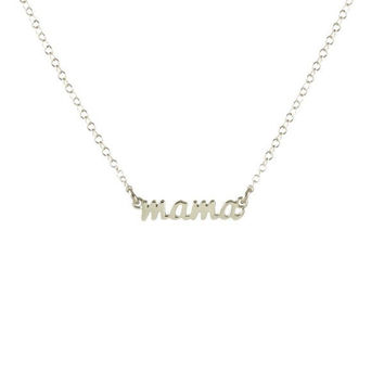"Kris Nations Necklace - Silver ""mama"" Script"