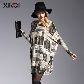 Oversized Sweater Fashion Batwing Sleeve Women's Jumper Sweaters Print Slash Neck Pullovers Knitted Sweater Women
