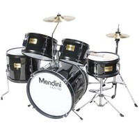 Mendini by Cecilio 16 inch 5-Piece Complete Kids / Junior Drum Set with Adjustable Throne Cymbal Pedal & Drumsticks Metallic Black MJDS-5-BK
