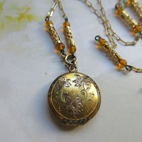 Older Vintage circa 1920 Long Locket Necklace