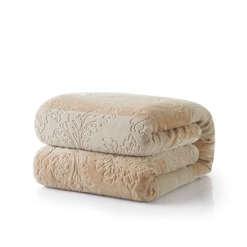 Tache Embossed Bubbly Champagne Beige Sherpa Throw Blanket (TA62088)