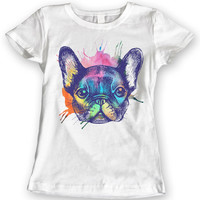 French Bulldog T-Shirts Watercolor design Ladies Gift Idea 100% Cotton