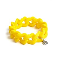 Safety Yellow Haute Mess Rubber Turnlock Bracelet by Marc by