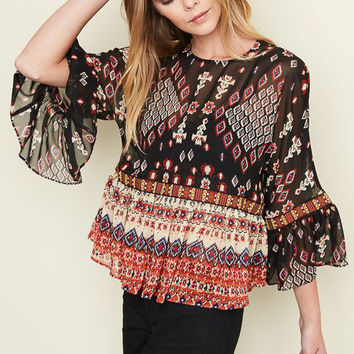 Black Mix Fit & Flare Blouse