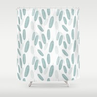 Retro Leaves Pattern Shower Curtain by mirimo
