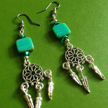 Dream Catcher Earrings - Bohemian - Turquoise - Blue - Dreamcatcher - Boho