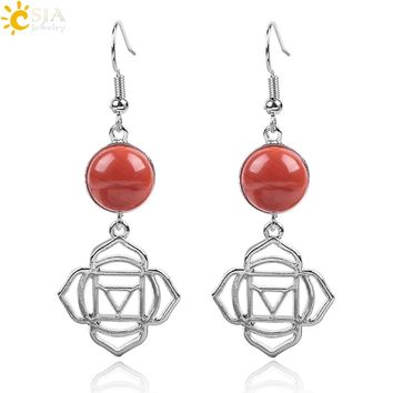 CSJA Women Flower of Life Earrings Reiki Natural Stone Agates Dangler Ethnic Yoga Meditation Rose Lotus Eardrop Jewelry E847