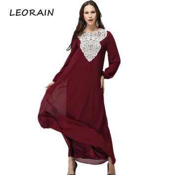 Muslim Plus Size Long Sleeve Chiffon Fall Indian Embroidery Ethnic Maxi Islamic Women Dress Clothing Robe Kaftan 6XL LEORAIN