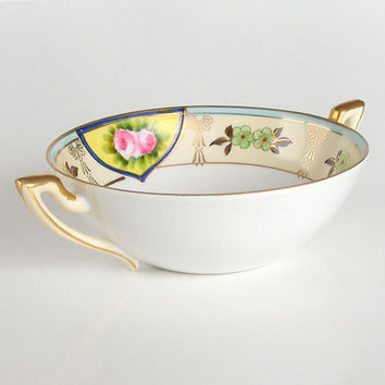 Antique Nippon Porcelain Bowl Hand Painted 2 Handled Soup Bowl c.1911-1921