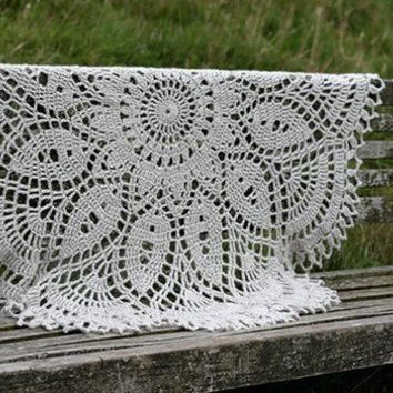 Hand crocheted decorative throw linen wool by namolio on Etsy