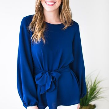 Made to Flatter You Tie Waist Blouse - Navy