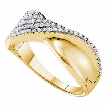 14kt Yellow Gold Women's Round Diamond Fold Twist Band Ring 3-8 Cttw - FREE Shipping (US/CAN)
