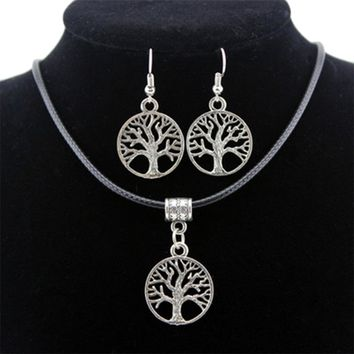 Gold White Gold Color Fashion Women Jewelry Sets Including Tree of Life Carved Earrings And Necklaces Set