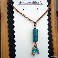 Boho Turquoise Necklace, Copper Dangle, Copper Tassle Necklace, Valentines Gift, Under 20