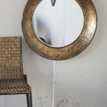 Large Round Metal Mirror- Antique Gold
