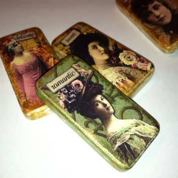 Domino Magnets featuring Personality traits Vintage women altered art