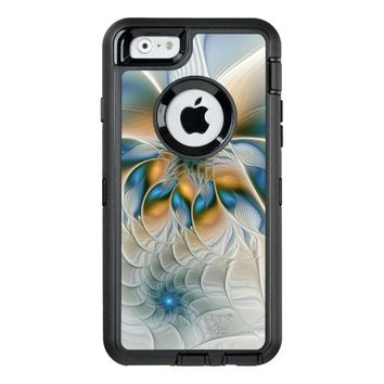 Soaring, Abstract Fantasy Fractal Art With Blue OtterBox Defender iPhone Case