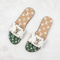 Louis Vuitton LV Green White Sandals Slippers Sliders Summer Shoes Flip Flop - Best Deal Online