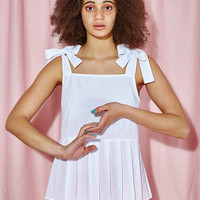 Bow Strap Pleat Hem Top White - THE WHITEPEPPER