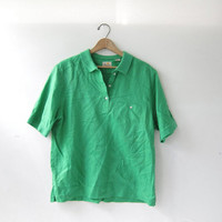 vintage linen shirt. short sleeve button down. pocket shirt. bright green minimalist Liz Claiborne shirt.