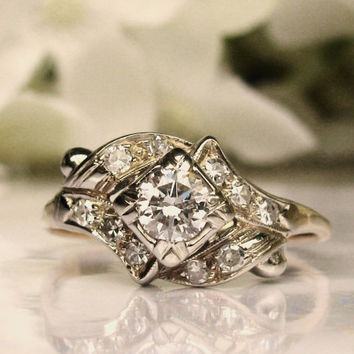 Vintage Engagement Ring Transitional Cut Diamond Ring Vintage Diamond Swirl Wedding Ring 0.70ctw Diamond Cluster Ring 14K Two Tone Gold!