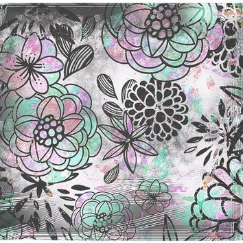 Black And White Floral Wall Tapestry Flowers Grunge Design Gray Wall Hanging
