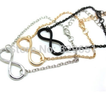 3798 European and American jewelry punk alloy charm bracelet 8 characters exquisite infinity symbol polished bracelet