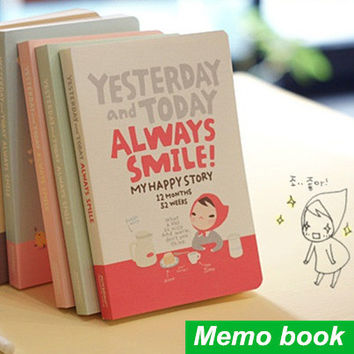 Cute Notebook Red hat girl Agenda week plan Diary Day planner journal record stationery office School supplies 6451