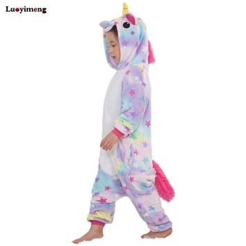 Children Kids Rainbow Star Unicorn Pajamas Winter Pyjamas Flannel Hooded Pijama Sets Animal Sleepwear For Girls Boys Sleepwear