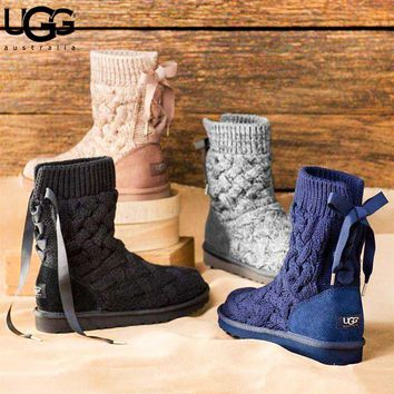 UGG New fashion keep warm boots bow knit shoes women