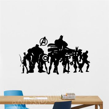 WXDUUZ Avengers Superhero Wall Decal Comic Marvel Silhouette nursery decal Home Decor Vinyl Wall Sticker bedroom Poster B54