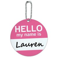 Lauren Hello My Name Is Round ID Card Luggage Tag