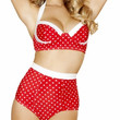 Sexy Red With White Polka Dot Contrast Trim High Rise Pin Up Vintage Slimming Bikini