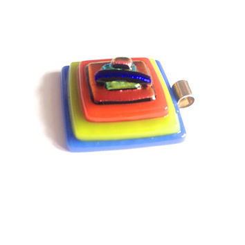 Dichroic glass square pendant, stepped pyramid, bright colours, blue, yellow, orange, black, sterling silver bail, free silver plated chain