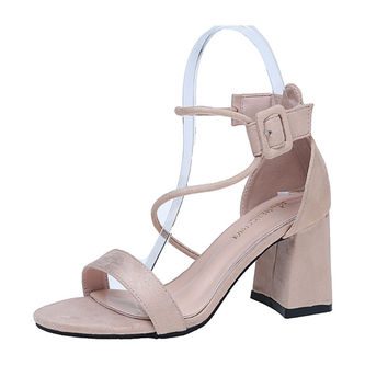 2017 Sexy Women Pumps Open Toe famous design Lace up Heels Sandals Woman sandals Thick with Women Shoes women High heels ALFT66