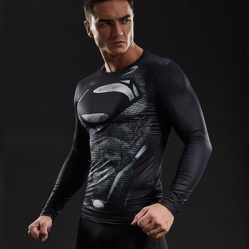 Superman Compression Shirts Men 3D Printed T-shirts Long Sleeve Comics Cosplay Costume fitness Clothing Tops Male Black Friday