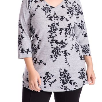 Women's Cashmere Touch Plus Size Butterfly Printed Tunic Top