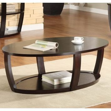 Homelegance Patterson Oval Wood Cocktail Table in Espresso
