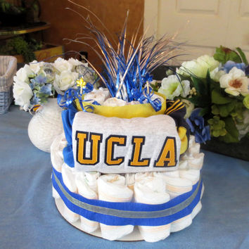 UCLA Diaper Cake Centerpiece Blue and Yellow Baby Boy Shower Gift Diaper Cake Themed Baby Shower Decoration Square Diaper Cake UCLA Bruins