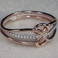 Double Mini Celtic Love Knot Ring with 14kt by AviationJewelry