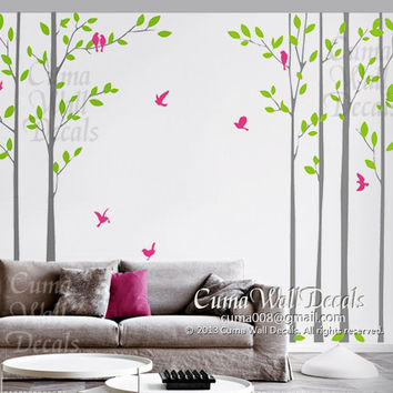 tree wall decal nursery birds Vinyl wall decals wall decal nursery wall sticker children - 6tree birds Z199 by Cuma